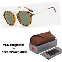 Wholesale Eye Glasses Shades - 2018 Fashion Brand Sunglasses Men Women gatsby Retro Vintage eyewear shades round frame Designer Sun glasses with brown cases and box