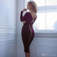 Wholesale full zipper back dress - Gamiss Bodycon Sheath Dress Long Sleeve Party Dresses Women Clothing Back Full Zipper Robe Pencil Tight Dress Vestidos