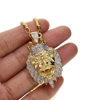 Wholesale mens lion head necklace - Classic hip hop mens lion head pendant necklace jewelry chains rope chain necklace long chain men jewelry rose gold chains