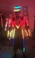 Wholesale glow party clothes online - Light up Costumes Party Suits Amazing Party Supplies Night Club LED Glowing Clothes Flashing Knight Stage Performance Clothing With Hat