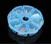 cajas redondas de joyas al por mayor-Diamante Cajas de pintura Mini 8 Rejillas Rhinestone Gemas Caja de plástico Caja de almacenamiento Caja de joyería Grano de maquillaje Claro organizador GIF