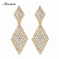 стразы кристально чистый цвет оптовых-Minmin Gold Color Crystal Big Geometric Drop Earrings for Woman 2018 Fashion Clear Rhinestone Wedding Bride Party Jewelry EH1086