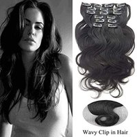 Wholesale jet black brazilian human hair for sale - Group buy Jet Black Remy Human Hair Clip on Extensions Full Head Thick Wavy Clip in Human Hair Extensions for Black Women