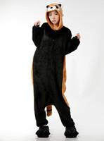 Wholesale kigurumi unisex pyjamas cosplay costumes - Raccoon Pajamas Adult Onesies Christmas Animal Cosplay Costume Cartoon Racoon Onesie Kigurumi Pyjamas Unisex Pijamas Sleepwear