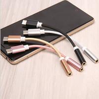 usb 3.5 audio-buchse groihandel-Audio Patchkabel Typ C Stecker auf 3,5 mm Klinke Kopfhörer Adapter USB-C auf 3,5 OTG Für Huawei Mate 10 P20 Pro Xiaomi Mi 6 8 6X Mix 2s AUX Kabel