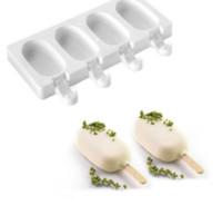ingrosso stampo di legno-4 celle silicone gelato congelato pop ghiacciolo stampo ice maker lolly stampo vassoio pan cucina +40 bastoncini di legno