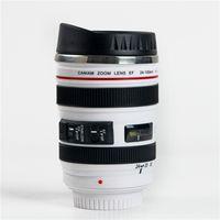 kahve fincanı hediye toptan satış-400 ml Yaratıcı Kamera Lens Şekli Fincan Kahve Çay Seyahat Kupa Paslanmaz Çelik Vakum Şişeler Şık Thermocup Hediye Ücretsiz Kargo