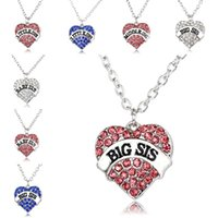 Wholesale little baby love - Crystal Heart Big Sis Middle Sis Little Sis Baby Necklace Best Sister Heart Love Pendants for Women Necklaces Best friend drop ship 161759