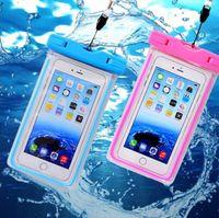 водонепроницаемый чехол для мобильных телефонов оптовых-ПВХ водонепроницаемый телефон чехол для мобильного телефона сенсорный экран мобильный iphone 7 плюс доказательство воды подводный прозрачный мешок мешок