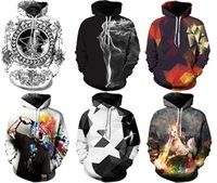 Wholesale red skull sweater - 2017 Newest Women's Hoodies With Hat Street Sweatshirts Sports 3D Print Athletic Sweater Workout & Training Galaxy Print M~2XL