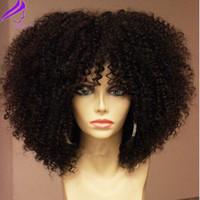 ombre afro kinky perücke großhandel-180 Density volle natürliche volle Lace Front Perücke mit Pony synthetische kurze Haare Afro verworrene lockige Perücken für schwarze Frauen