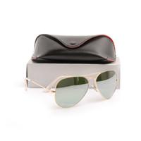 erkek gözlük çerçeveleri toptan satış-Yüksek Kaliteli Cam lensler Altın Çerçeve ayna güneş gözlüğü Yeni Moda bayan güneş gözlüğü Erkek güneş gözlüğü yeni klasik güneş gözlükleri 58 m glitter2009