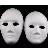 Halloween Full Face Masks para adultos DIY Hand-Painted Pulp Plaster Covered Paper Mache Blank Mask Atacado Homens Mulheres Plain Party Mask a643