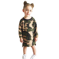 Wholesale Loose Long Shirts Girls - Baby Girls Clothes Long Sleeve Camouflage Dress Kid Loose Straight Children Casual Style Shirt Toddler Girl Mini Dress