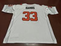 bc branco venda por atacado-Homens baratos BC leões # 33 Andrew Harris White Orange faculdade jersey ou personalizado qualquer nome ou número jersey