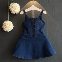 yazın için denim elbiseler toptan satış-Kızlar Denim Elbise Yaz Güzel Elbise Çocuk Çocuklar için Kolsuz Giyim Çiçek Denim Yelek Etekler Jartiyer Elbiseler