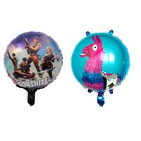 детские игрушки оптовых-Fortnite алюминиевая фольга воздушный шар поставляет детские игрушки ламы большой шар день рождения украшения дети Рождество Хэллоуин подарок 18 дюймов