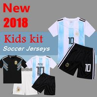 Wholesale Boys Blue Collar Shirt - 2018 Kids kit Messi Argentina away Soccer Jersey 2018 world cup youth boy Child Argentina Home Blue soccer Shirt Aguero Di Maria