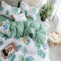 набор постельных принадлежностей оптовых-Скандинавский стиль Fresh Green Leaves Duvet Cover 100% Наборы для одежд Coon для взрослых Twin Queen King Покрывало Solid Color Bed Sheet
