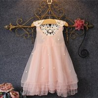 Wholesale korean net dress online - ins Korean girl dress net yarn tutu dress beaded lace suspenders princess dress T color
