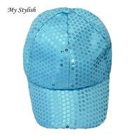 красивые шапки оптовых-1PCS Baseball Caps 2017  New Fashion MSequin Baseball Cap Cool Hats High Quality Adjustable Colorful Beautiful Dec 26