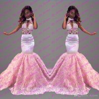 Wholesale Vintage Style Evening Dresses - 2017 Sexy elegant long length prom dresses white satin pink lace evening gowns Arabic style sleeveless for prom dress mermaid