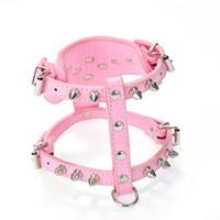 Wholesale harness rivets - Dog Harness Collar Fashion Rivet Pet Vest Multi Color PU Puppy Cat Chest Straps 16 5wn C R