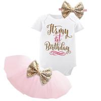 meses de vestido de festa de bebê venda por atacado-1 ano baby girl vestido de aniversário crianças roupas de bebê arco de ouro 6 meses primeiro 2º aniversário batismo vestidos para meninas partido desgaste