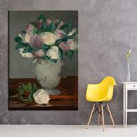 ingrosso dipinti floreali di peonies-Canvas HD Prints Paintings 1 Piece Peonies Flower Vase Poster Wall Art Manet Immagini per Living Room Quadro Decorazione della casa