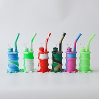 Wholesale Mini Seven - 2017 New Arrival Mini Silicone Drum Water Pipe glass bongs glass water pipe seven colors for choice DHL free shipping