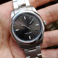 relógio de data perpétua venda por atacado-Nova Luxo Sapphire Alta Qualidade Perpétua Nova Nenhuma Data De Aço Cinzento Abobadado Dial 114300 Automático Mecânico Mens Relógios Dos Homens Relógios