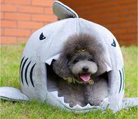 kedi ev köpekbalığı toptan satış-Pet malzemeleri köpekbalığı ağız ayrılabilir pet house köpek aksesuarları köpek yatak Tiddy Bichon küçük köpek kedi evi