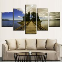Wholesale green trees wall canvas - Artworks Decor Paintings Printed Wall Art 5 Pieces Wooden Bridge Green Trees Blue Sky And Sea Scenery HD Pictures Modular Canvas