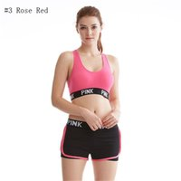 Wholesale Eye Pants - Love Pink Letter Tracksuit Lady Summer Sport Wear Running Fitness Bra Shorts Gym Top Vest Pants Set Women Yoga Suit 2pcs Underwears Online