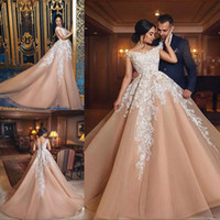 Wholesale robes pageant - 2018 Champagne Sexy V Neck Evening Dresses Sleeveless Appliqued Court Train Formal Ball Gowns Prom Dresses robe de soiree Pageant Dresses