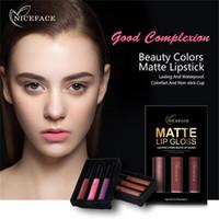 Wholesale purple lipstick online - NICEFACE Brand Colors Set Liquid Lipsticks Make Up Pigments Sexy Red Purple Velvet Matte Lip Gloss Makeup Kit