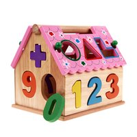 Wholesale wooden puzzles toddlers resale online - Blocks Kids Bricks Toys Shape Sorting Puzzle Board Smart House Geometric Nesting Stacker Baby Toddler Wooden Educational Toys for Children
