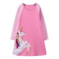 Wholesale clothing for baby girls online - Unicorn Appliqued Girl Party Dress Tunic Long Sleeve Baby Girl Clothes Kids Jersey Dress Princess Clothes for Children Clothing