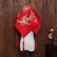 véus de noiva china venda por atacado-Véu de noiva vermelho China Embroisery véus nupciais Headwear nupcial acessórios do casamento F714135