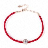 rote fadenkristalle großhandel-Österreichische Kristalle Charme Armbänder für Frauen Dünne Rote Faden Schnur Seil Mode Trendy Armband Armreifen Schmuck Pulseras 8C0919