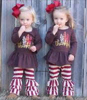 пуховые перья оптовых-День благодарения новорожденных девочек наряды дети индейка перо принт топ + полоса рюшами брюки 2 шт. / Компл. Весна осень дети комплекты одежды