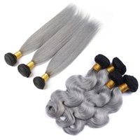 Wholesale human hair extensions gray for sale - 9A b Grey Ombre Brazilian Virgin Human Hair Extensions Ombre Gray Peruvian Malaysian Indian Cambodian Body Wave Straight Hair Weave Bundles
