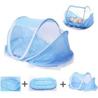 bebek yatağı karyolası toptan satış-3in1 Oto Pop Up Taşınabilir Bebek Seyahat Yatağı Beşik Sivrisinek Cots Bebek Bebek Plaj için Çadır ile Yumuşak Uyku Mat Yastık