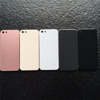 iphone 5s glasgehäuse großhandel-Für iPhone 5s SE Zurück Gehäusedeckel wie iPhone 8 Stil Metall Glasdeckel Ersatz mit Tasten für 5s Gehäuse für iPhone8