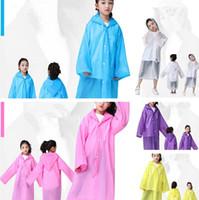Wholesale kids rain cover - New Kids Hooded Transparent Raincoats Rain Coat Poncho Raincoat Cover Long Girl Boy Rainwear 6 Colors T2I354