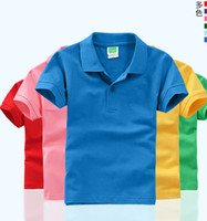 Wholesale cotton blends children shirts online - DIY children short sleeve T shirt kindergarten kids boy girl POLOS parent child polo shirt customize print pure color summer shirt top tees