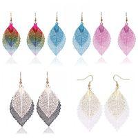 Wholesale double tassel earrings - Boho Ethnic Style Women Fashion Double Color Leaf Dangle Earrings Vintage Leaves Long Tassels Drop Earring Women Jewelry Gift Free DHL H124R