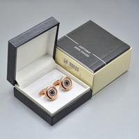 diseños de cajas de regalo de lujo al por mayor-4 colores de lujo mb camisa de los hombres gemelos con caja joyería de diseño único Copper Gemelos enlace de regalo