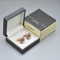 Wholesale unique cufflinks for sale - Group buy 4 Colors luxury mb Men shirt Cufflinks with Box unique design jewelry Copper Cuff links gift
