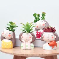 ingrosso vasi da giardino della resina-Kawaii Zakka Resina Succulente Vaso di fiori Ghirlanda Ragazza Sognando Girl Picks Carnosa Flower Pot Garden Office Decorazione della casa